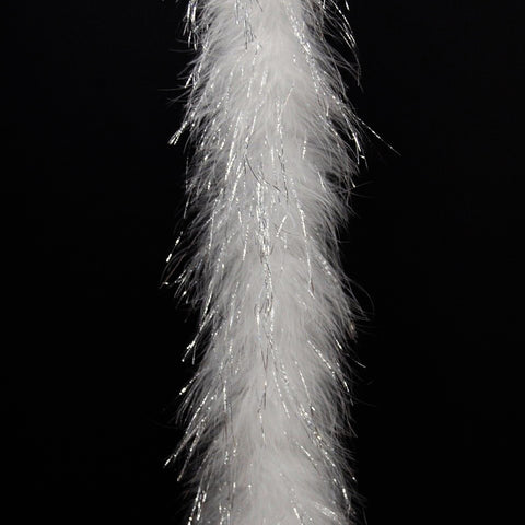 White with Silver Lorex Tinsel 25 Gram Marabou Feather Boas