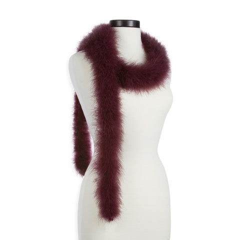 Wine 25 Gram Marabou Feather Boa on Manikin