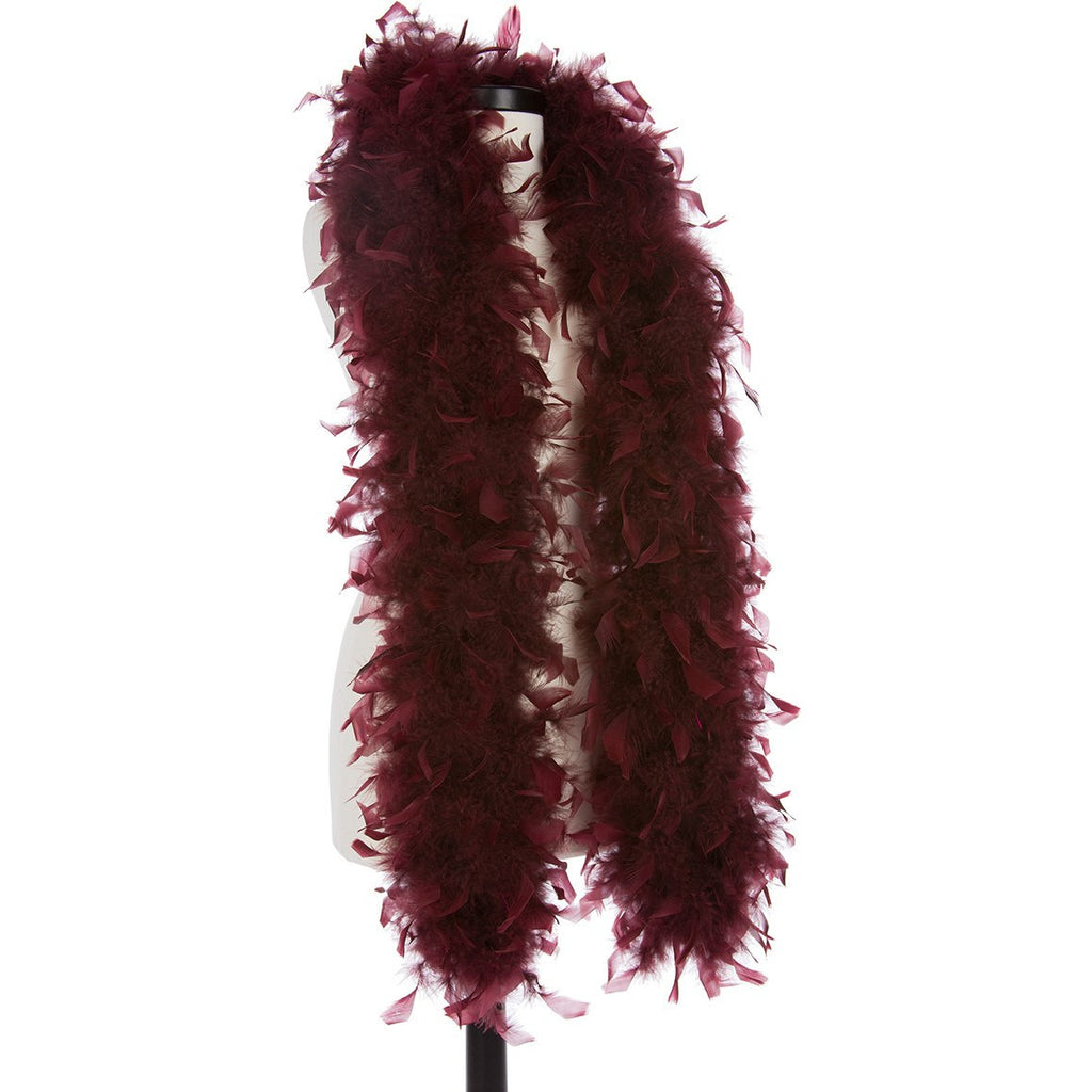 Wine 65 Gram Chandelle Feather Boa on Manikin