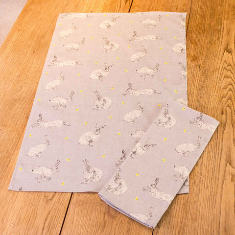 Hare tea towel - all over pattern