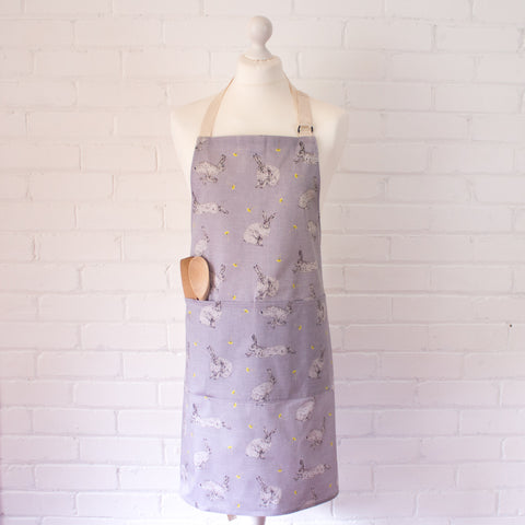 Apron - hare & dandelion design on model