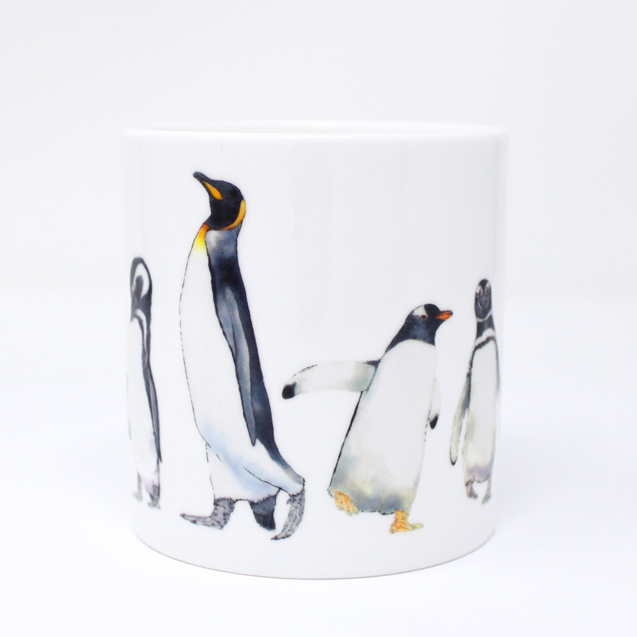 A quite big mug with a penguin design