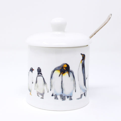Penguin parade jam pot with lid and indent for tea spoon