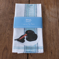 Tea towel with Oystercatcher design in packaging