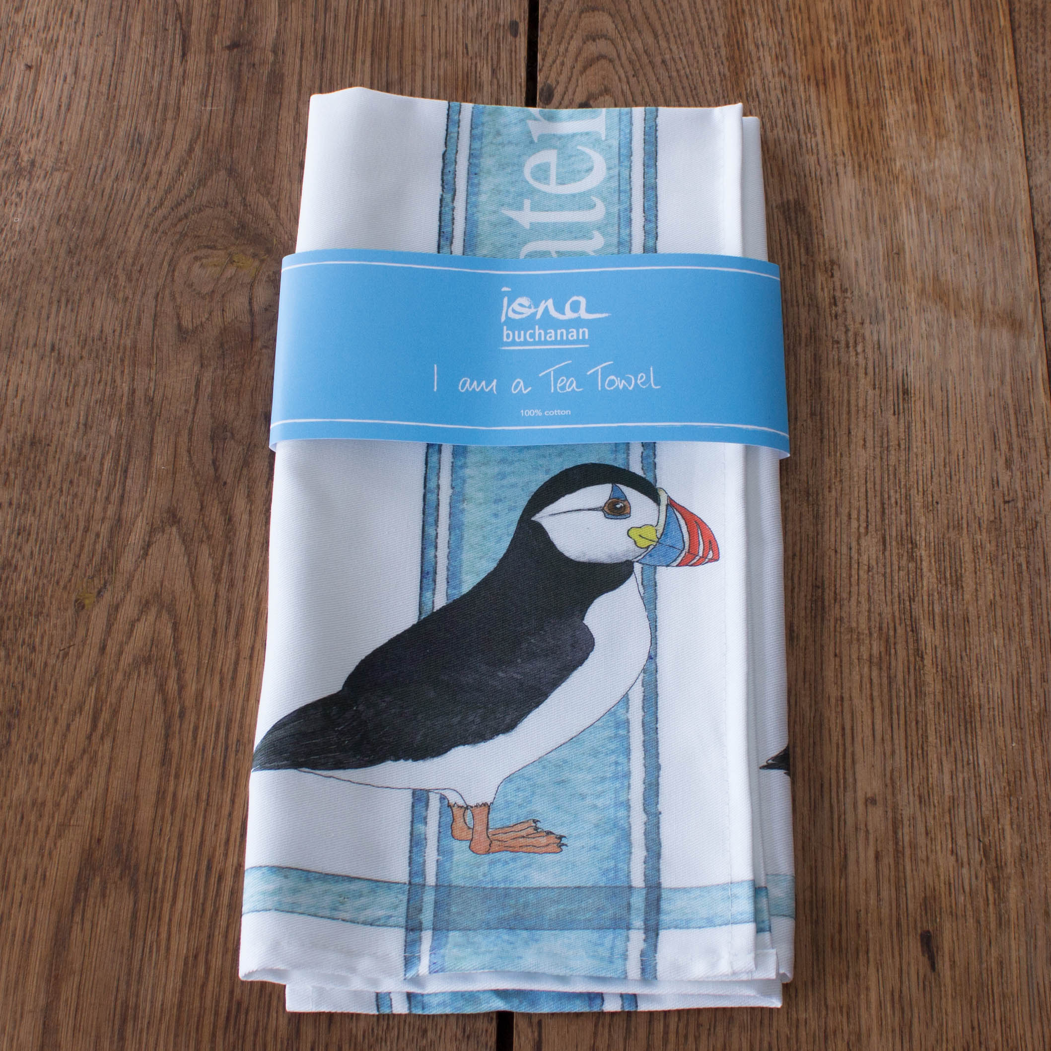 tea towel with Puffin design in packaging