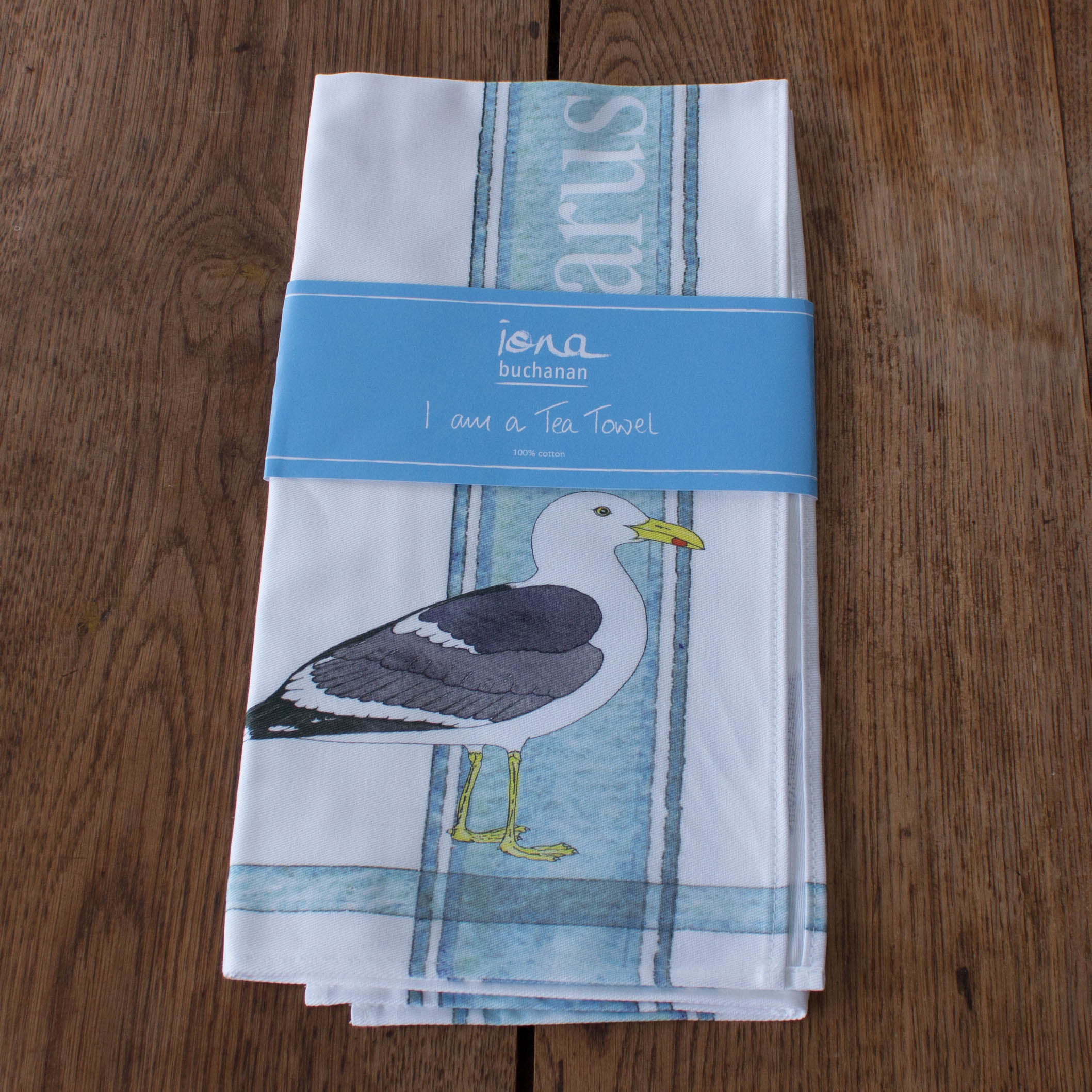tea towel with Gull design in packaging