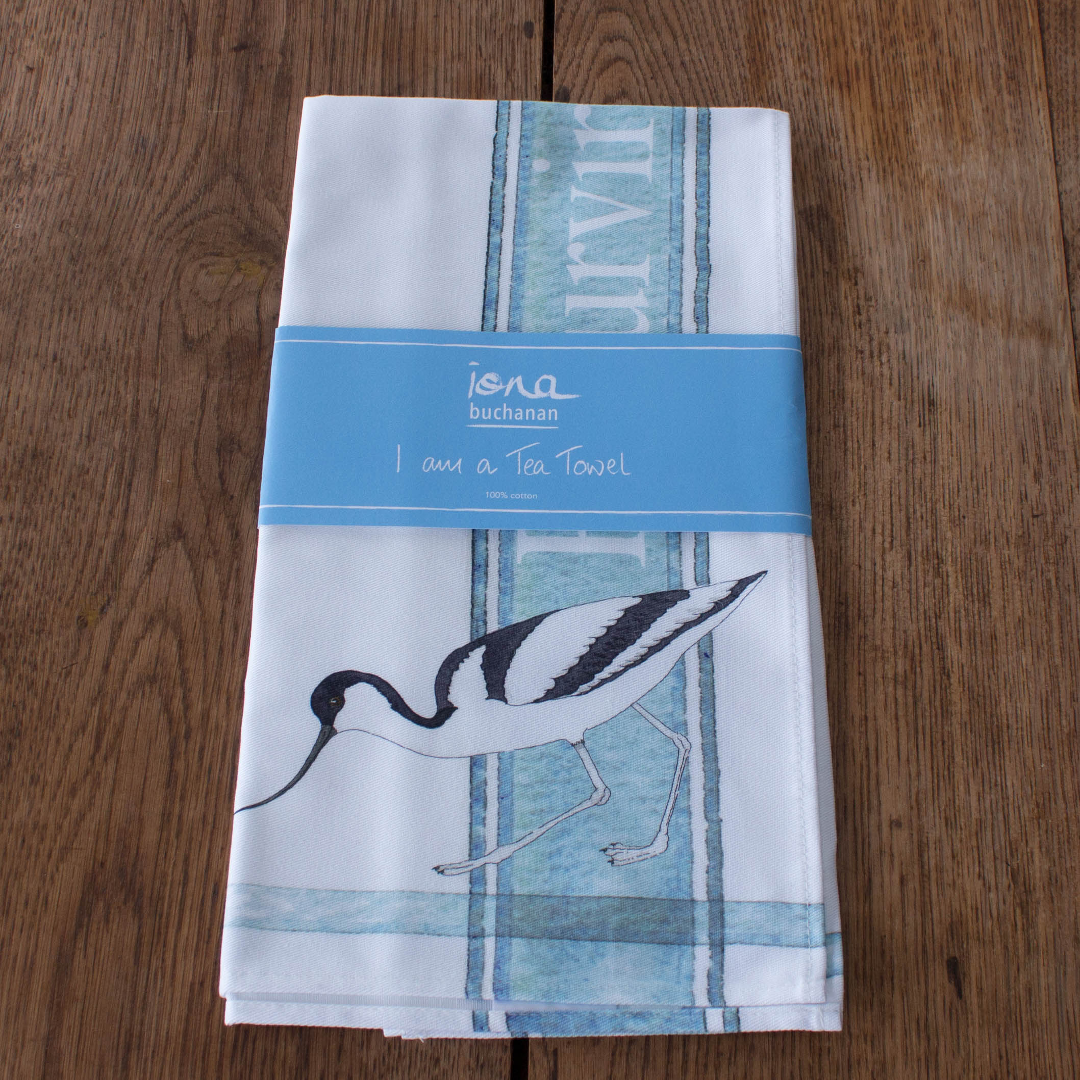tea towel with Avocet design in packaging
