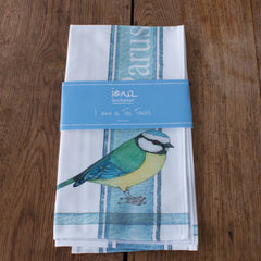 tea towel with blue tit design in packaging