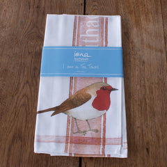 tea towel with Robin design in packaging