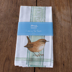 tea towel with Wren design in packaging