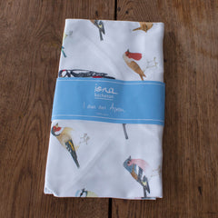 tea towel with garden bird design in packaging