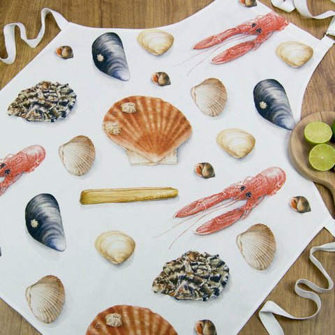 Apron - shellfish design, sea shells