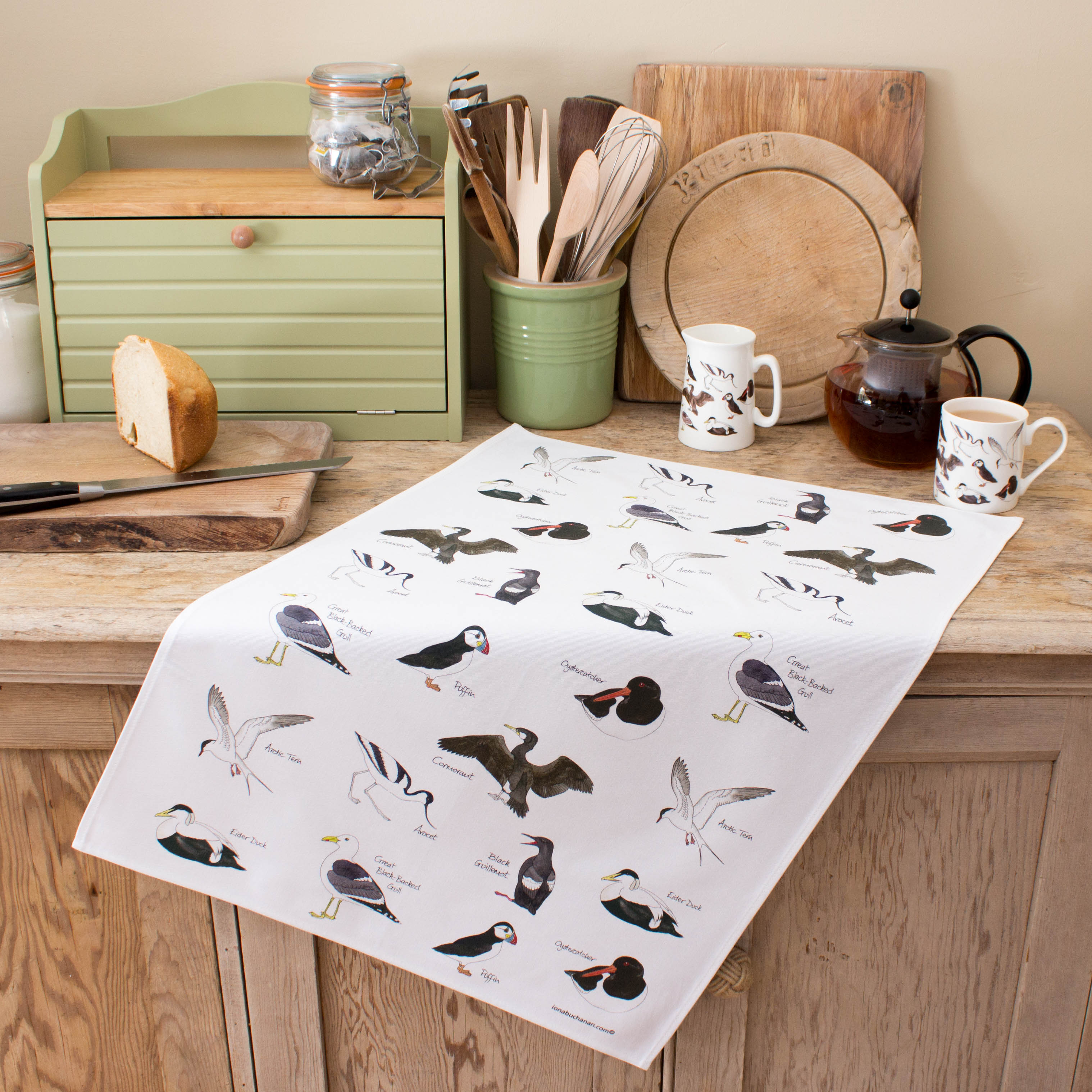 tea towel with sea birds design