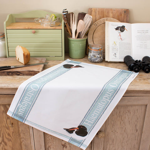 Tea towel with Oystercatcher design