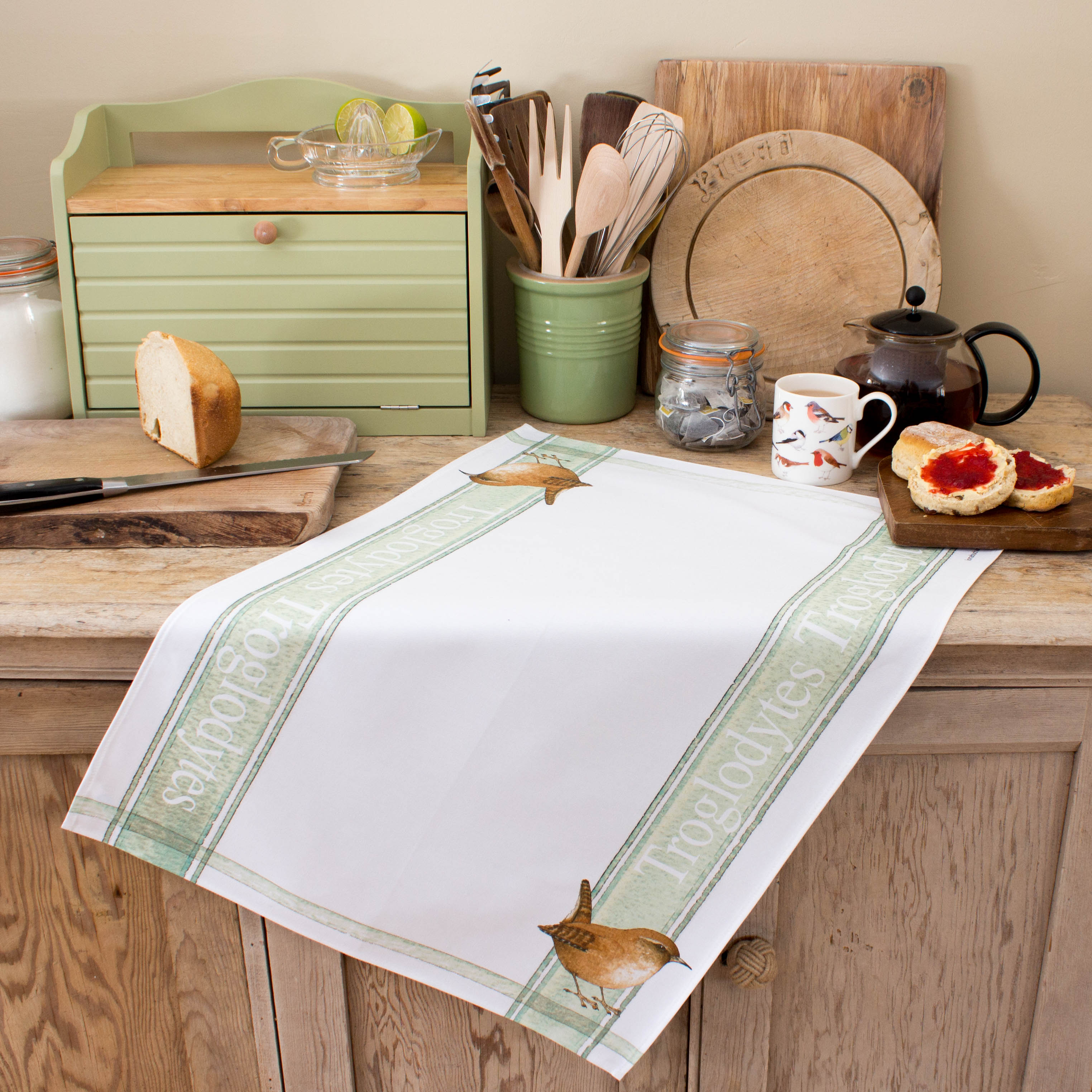 tea towel with Wren design
