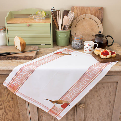 tea towel with Robin design