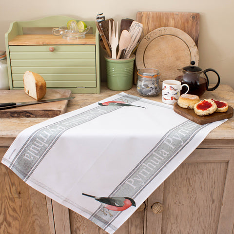 tea towel with bullfinch design