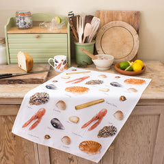 tea towel with shellfish, sea shell design