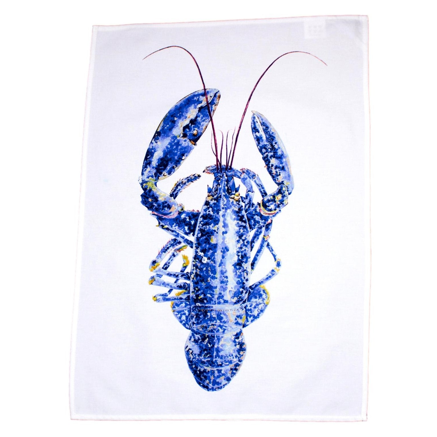 tea towel with blue lobster design