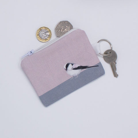 A key fob purse with a Long-tailed Tit design
