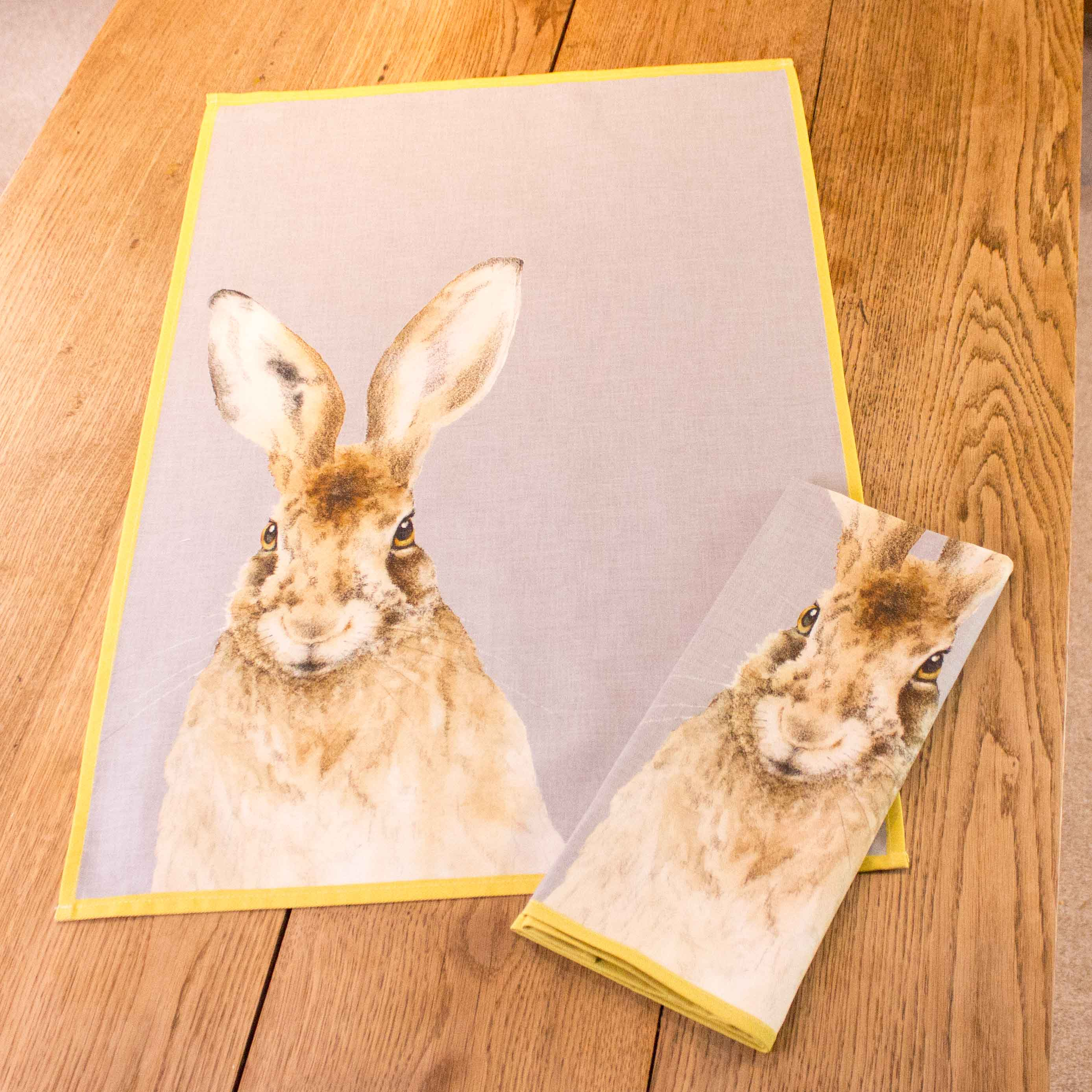 Tea towel featuring a portrait of a hare