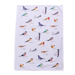 tea towel with garden birds design