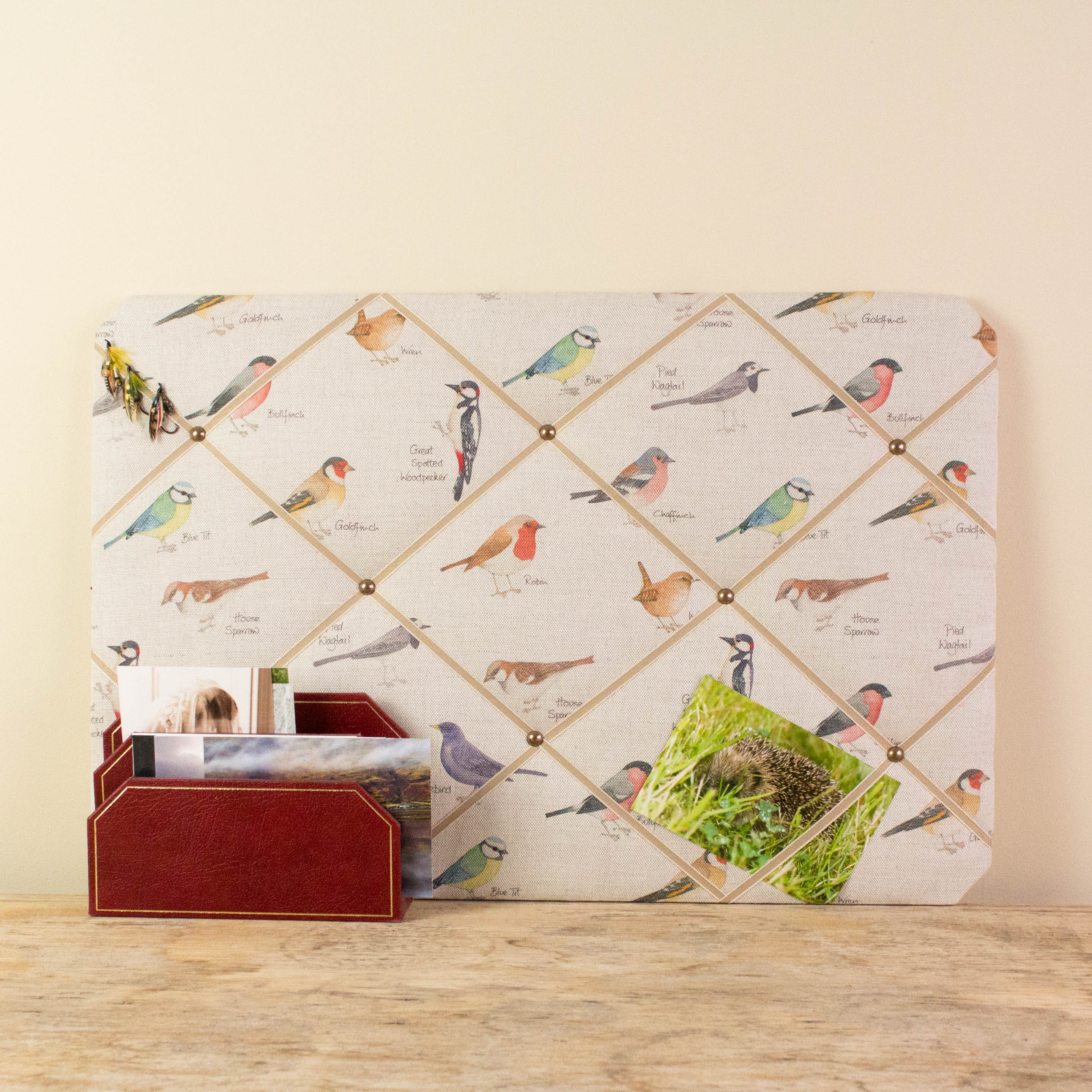 Noticeboard, memo board landscape with garden bird design