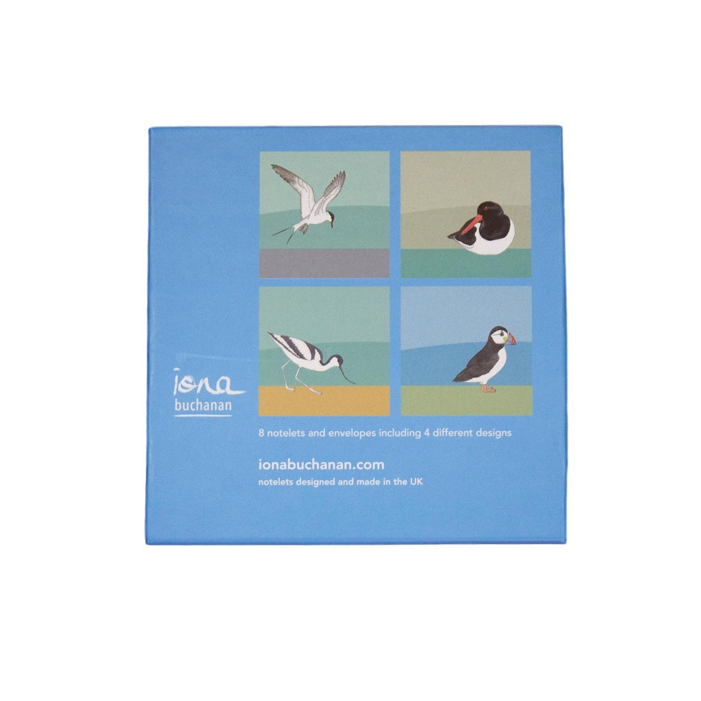 bird notelets - the back of a boxed set of 8 notelets featuring sea birds