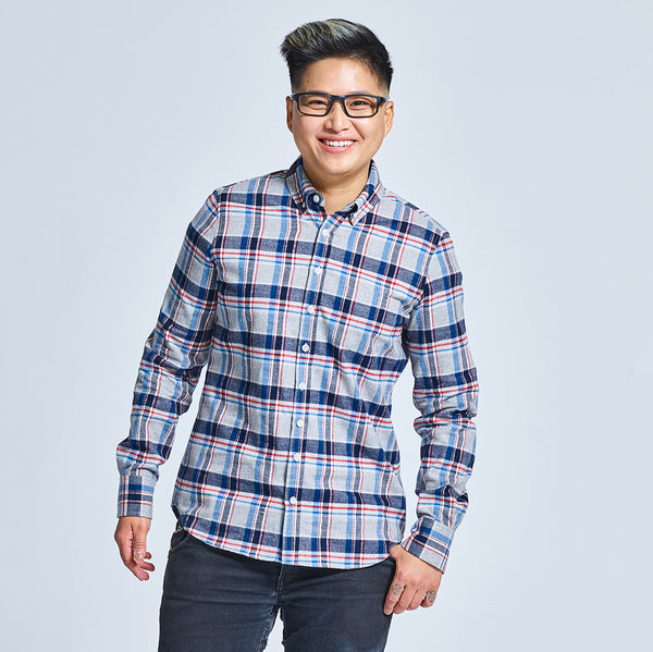 Grey, Red and Navy Flannel