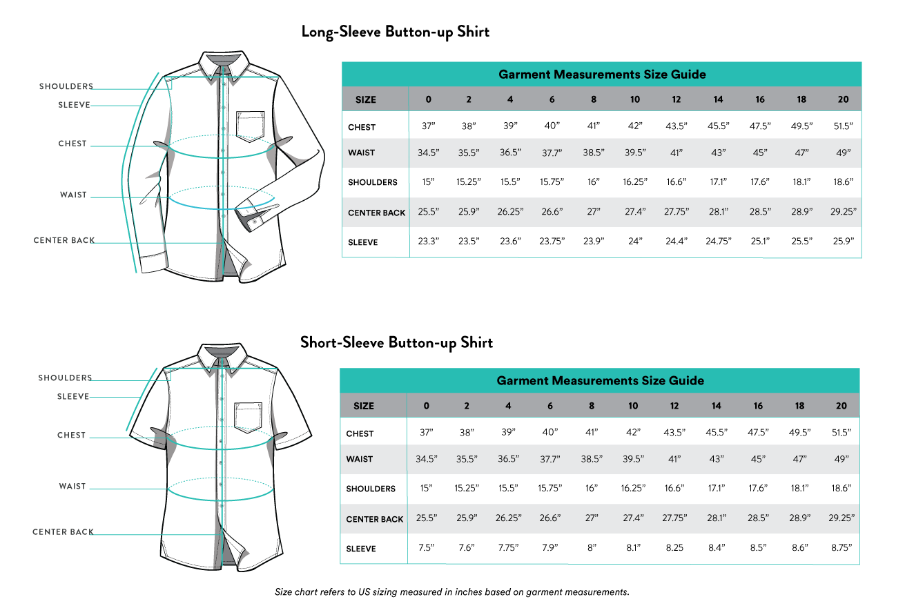 Kirrin Finch Garment Measurement Size Chart