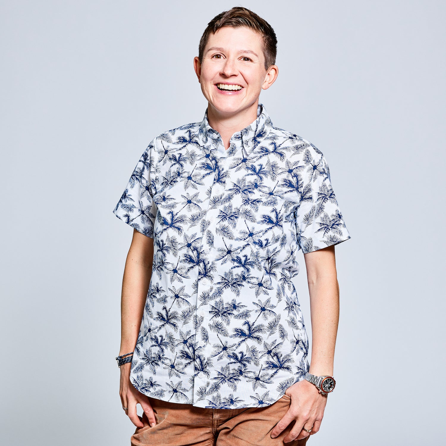 Kelly in Murie Palm Tree Linen Cotton Shirt