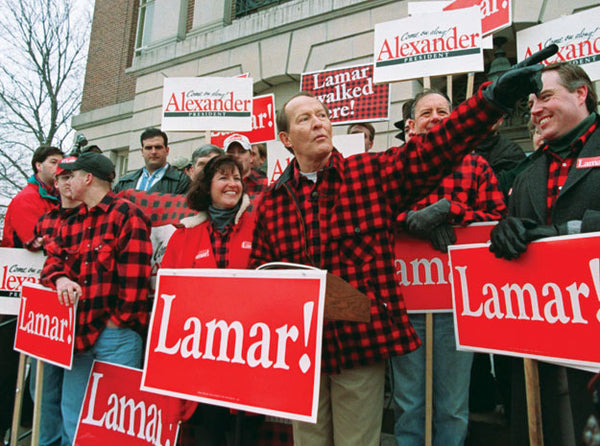 Lamar Alexander in a Red and Black Flannel