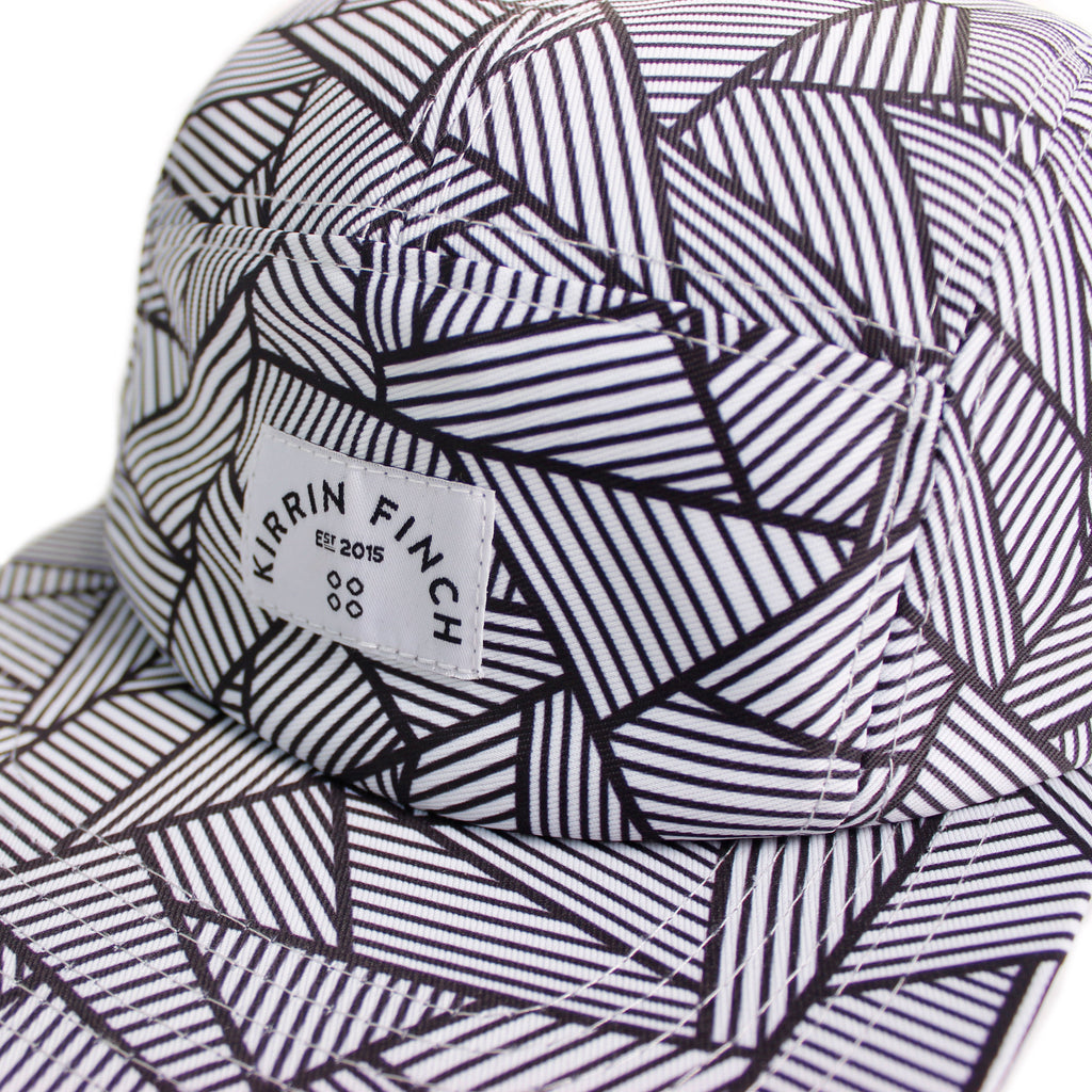 Black and White Geometric Pattern 5 Panel Hat