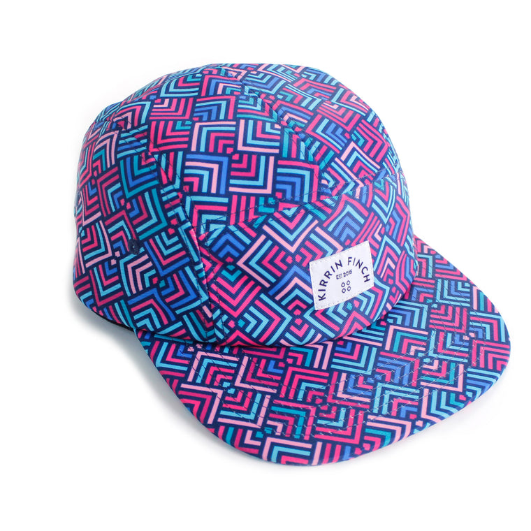 Pink and Blue Geometric 5 Panel Hat