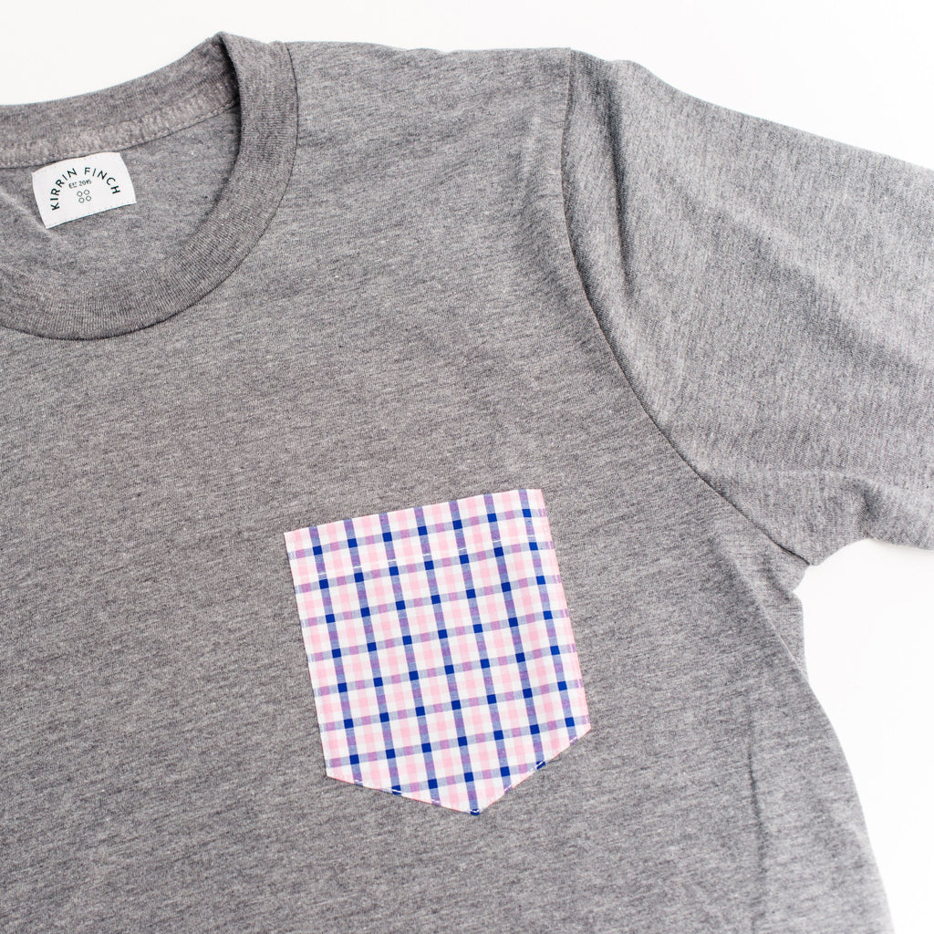 Gray T-Shirt Pink Gingham Pocket