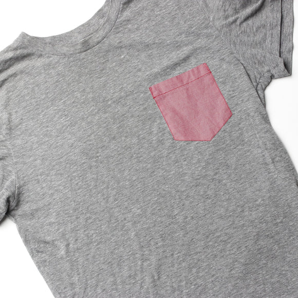Gray T-Shirt Red Chambray Pocket