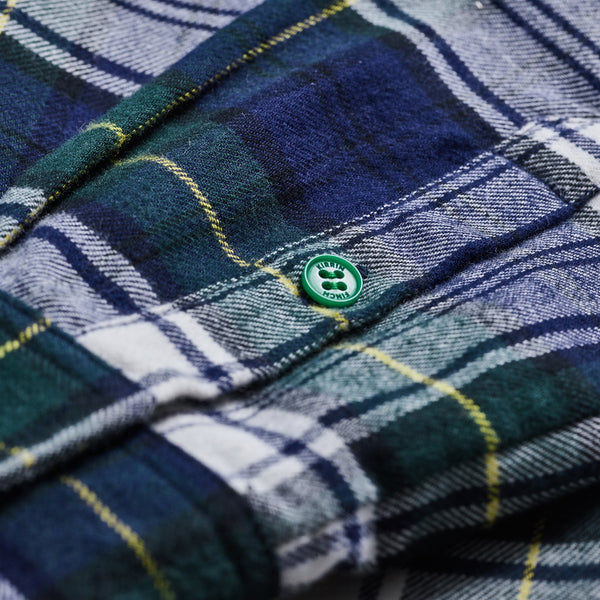 Green Navy And Yellow Plaid Flannel Button Up Shirt