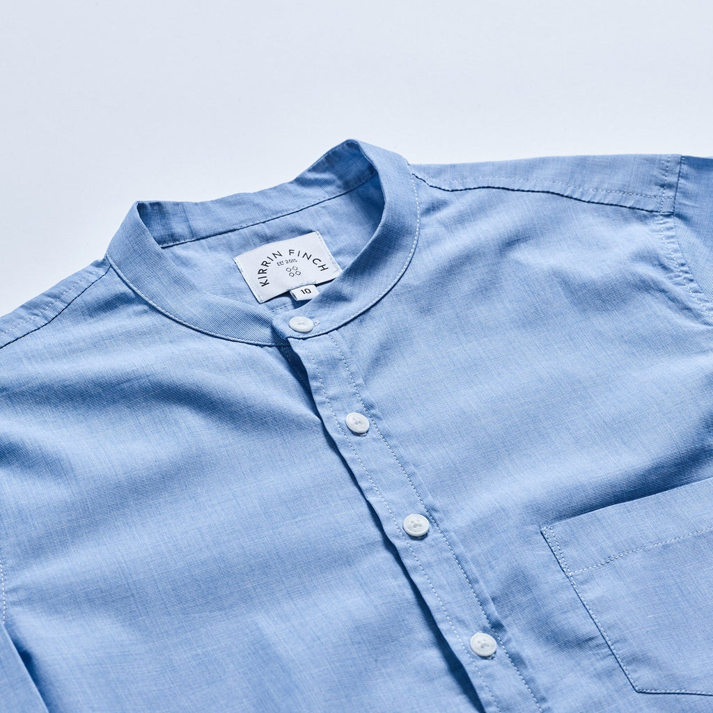 Womens Blue Mandarin Collar Button Down Shirt