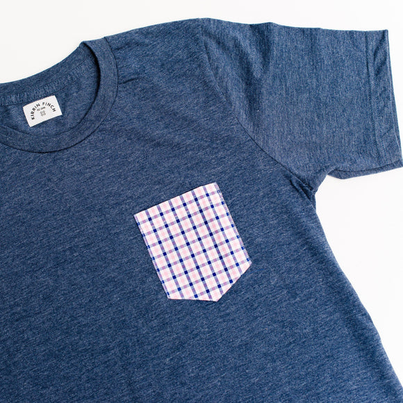 Navy T-Shirt Pink Gingham Pocket