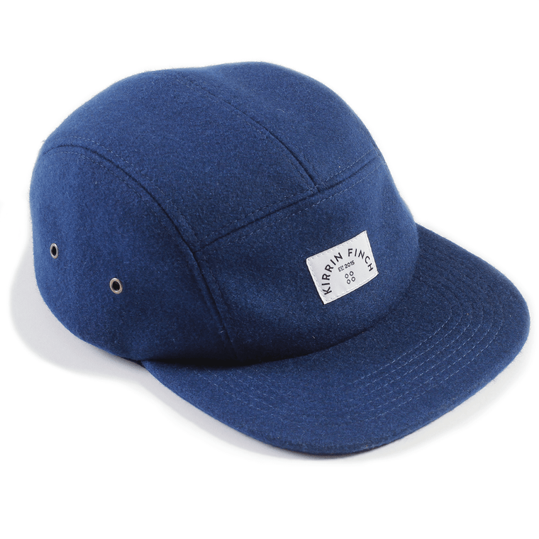 Navy Wool 5 Panel Hat