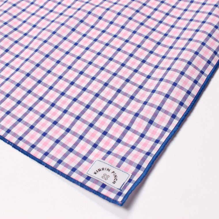 Pink and Blue Gingham Pocket Square