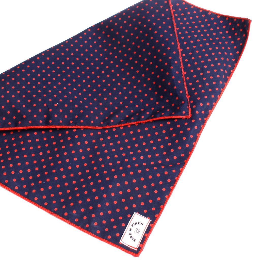 Red and Navy Polka Dot Pocket Square