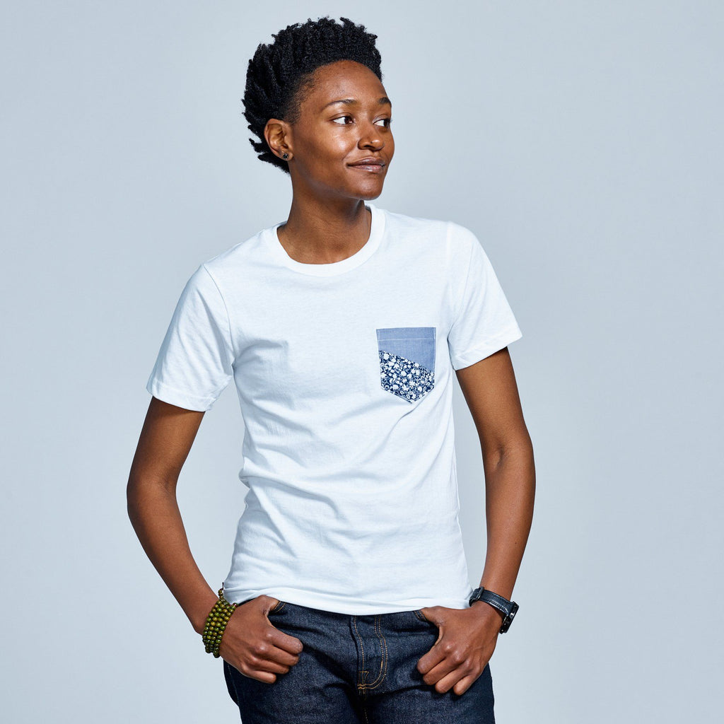 White T-Shirt With Blue and Floral Pocket