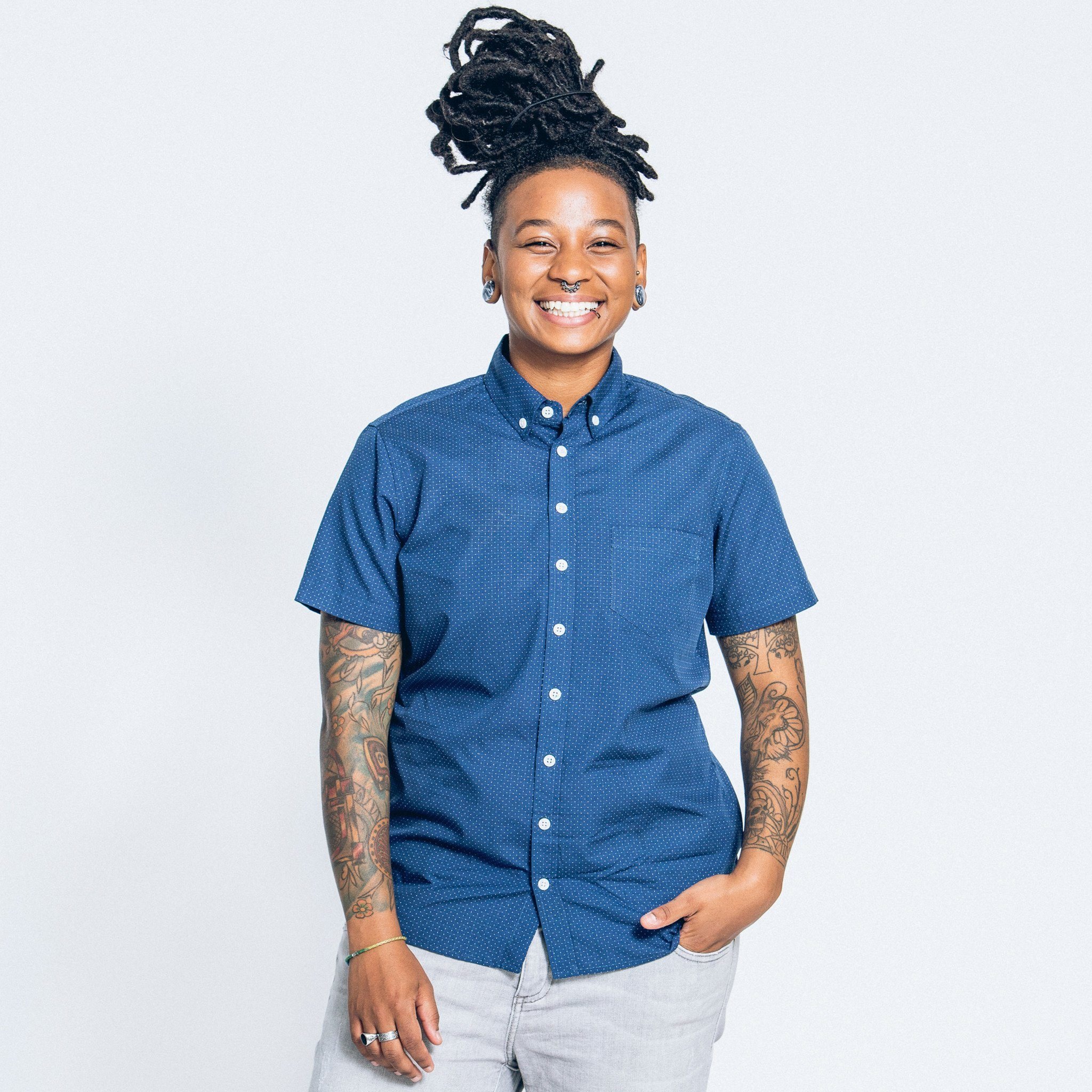 74282bc8e Navy Dobby Dots Short-Sleeve Shirt | Kirrin Finch