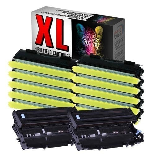 10 + 2 Brother TN-460 High Yield Black Toner + DR-400 Drum Unit Compatible Cartridge Combo (High Yield Of TN-430)