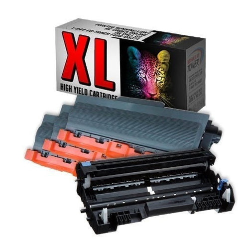 3 + 1 Brother TN-750 Black Toner + DR-720 Drum Compatible Cartridge Combo (High Yield Of TN-720)