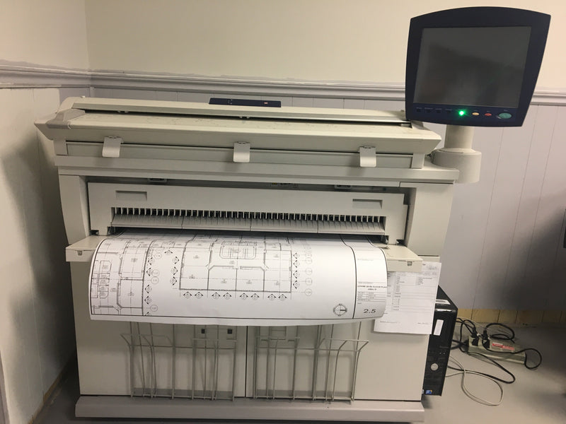 "Absolute Toner Pre-Owned 36"" Xerox Wide Format 6605 Laser Multifunctional Engineering Digital Plan Printer B/W Print Colour Scan Demo Unit Only 14k Square Foot On meter Large Format Printer"