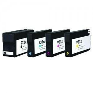 Absolute Toner Compatible 4 Ink Cartridge  HP 932XL & 933XL Extra Large Combo (Black, Cyan, Magenta, & Yellow) HP Ink Cartridges