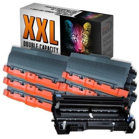 6 + 1 Brother TN-780 Double Capacity Black Toner + DR-720 Drum Unit Compatible Cartridge Combo (High Yield Of TN-750/TN-720)