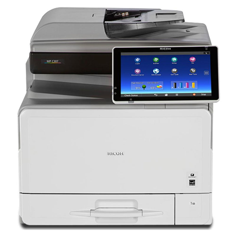 Absolute Toner Ricoh MP C307 Full Size Color Laser Multifunction Printer Copier, Scanner, Facsimile For Office - $35/Month Showroom Color Copiers
